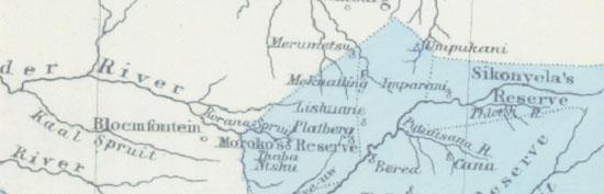 Map (c. 1849) showing location of Umpukani in relation to Bloemfontein.